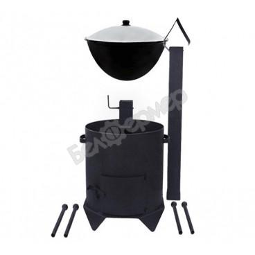Комплект печь усиленная с дверцей и дымоходом + узбекский казан (на 6 л)
