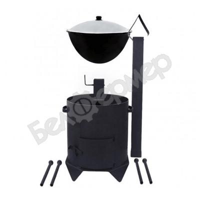 Комплект печь усиленная с дверцей и дымоходом + узбекский казан (на 8 л)