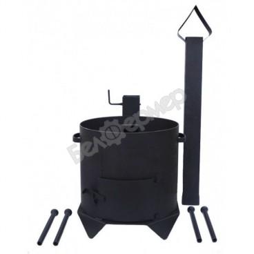 Печь усиленная для казана с дверцей и дымоходом на 4-х ножках (на 6 л)