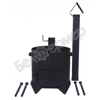 Печь усиленная для казана с дверцей и дымоходом на 4-х ножках (на 8-10 л)