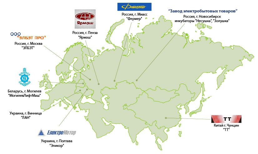 Карта производителей продаваемых товаров